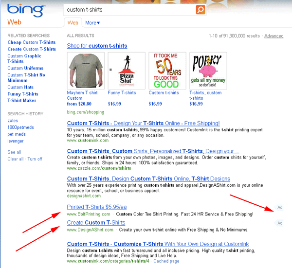 Ads Inside Bing Search Results