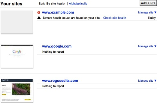 Google Webmaster Tools Homepage With Site Health