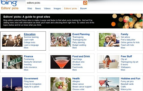 Bing Editor's Picks Homepage Screenshot