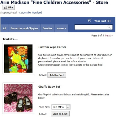 Example Of Intuit Store On Facebook