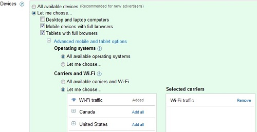 AdWords Mobile WiFi Targeting