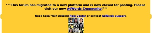 AdWords Message Referring To The New Community