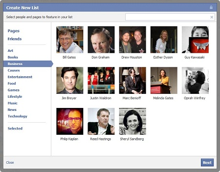 Facebook Create New Interest List Box
