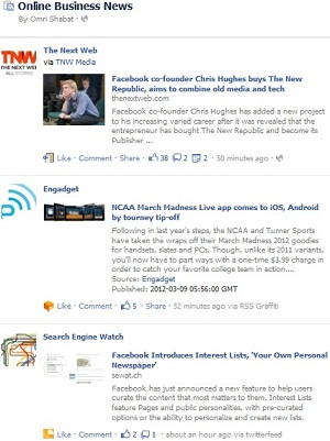Facebook Online Business News Interest List Feed