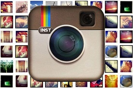 Instagram Logo With Photos On Background