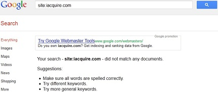 Google Results iAcquire Vanished