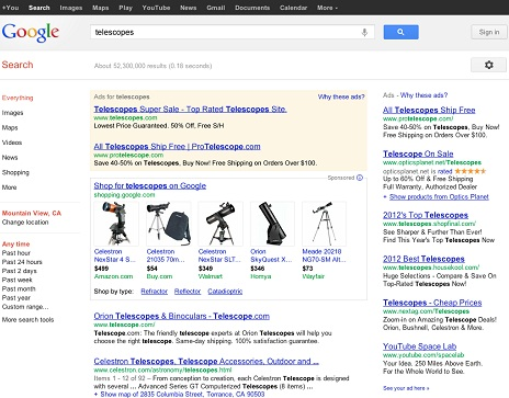 Google Search Results for Telescopes