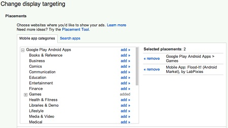 AdWords Mobile App Placement Targeting