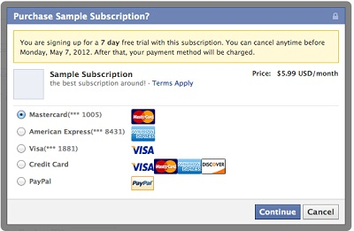 Facebook Subscription Payment Box