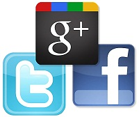 Google+, Twitter and Facebook Square Logos