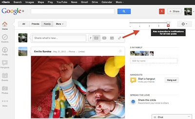 Google+ Get Notification Slider
