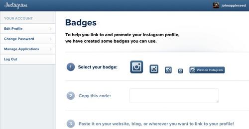 Instagram Badges Page