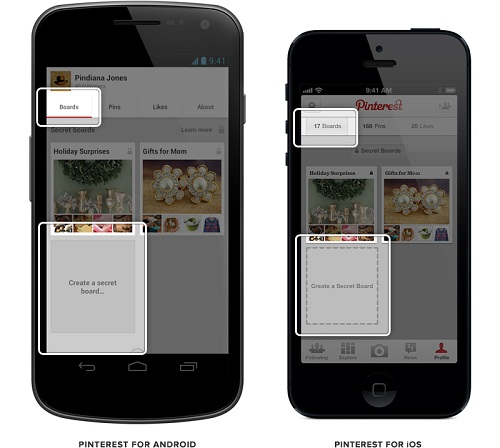 Pinterest Secret Boards on Mobile Devices