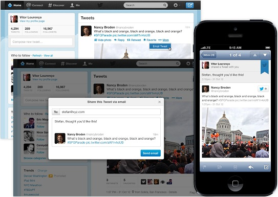 Twitter Sharing Through Email