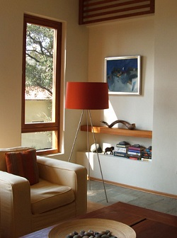 red floor lamp