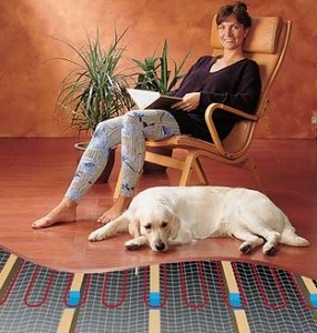 Under Floor Heating- Woman and a Dog