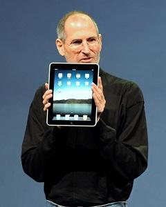 Steve Jobs and an iPad