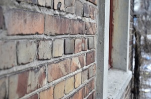 plastered bricks