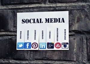 social networks on a wall